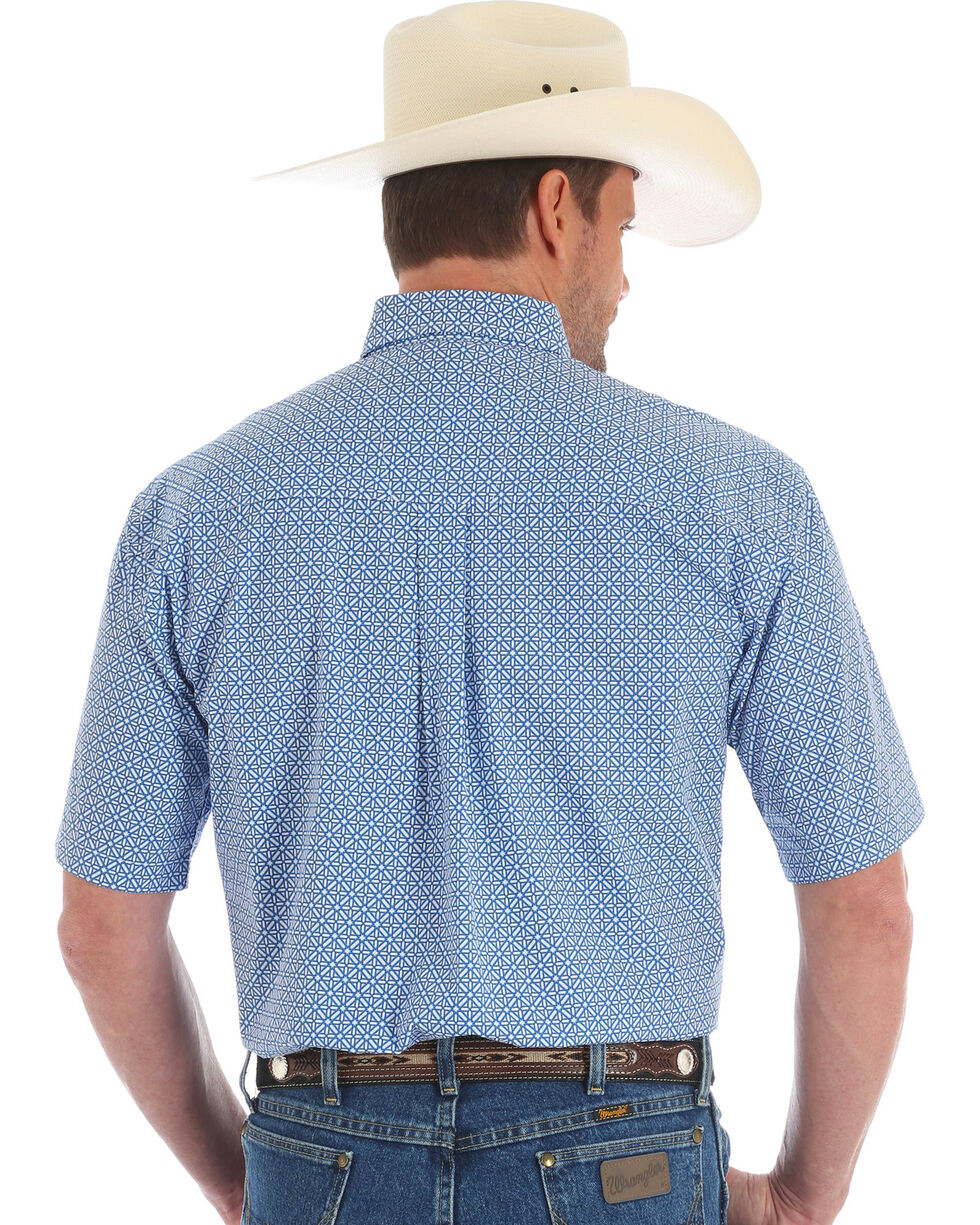 Wrangler George Strait Men's Geo Diamond Short Sleeve Button Down Shirt - Big & Tall, Blue, hi-res