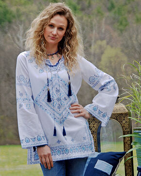 Tasha Polizzi Blue Cowgirl Top , White, hi-res