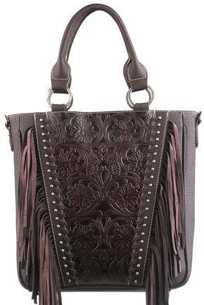Montana West Trinity Ranch Coffee Tooled Design Concealed Handgun Collection Handbag, Brown, hi-res