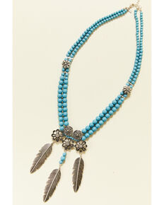 Shyanne Women's Summer Nights Turquoise Beaded Concho Statement Necklace, Silver, hi-res