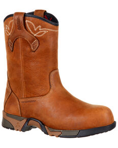"Rocky Women's Aztec Waterproof 9"" Work Boots - Safety Toe, Brown, hi-res"