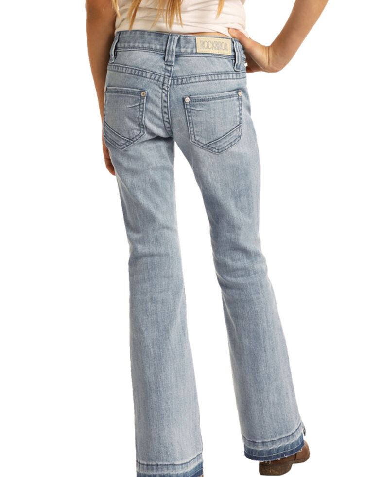 Rock & Roll Denim Girls' Light Wash Split Hem Basic Trouser , Blue, hi-res