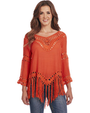 Cowgirl Up Women's 3/4 Sleeve Crochet Fringe Top, Orange, hi-res