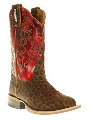 Cinch Girls' Leopard Print Boots - Square Toe, Tan, hi-res