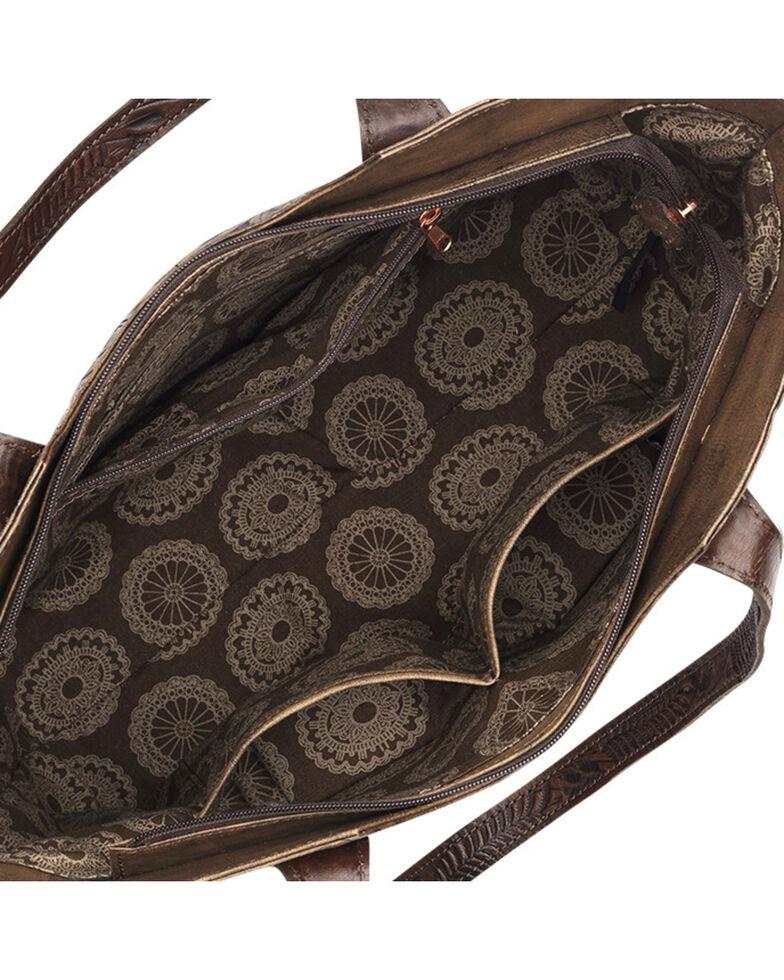 American West Annie's Secret Collection Brown Large Zip Top Tote, Brown, hi-res