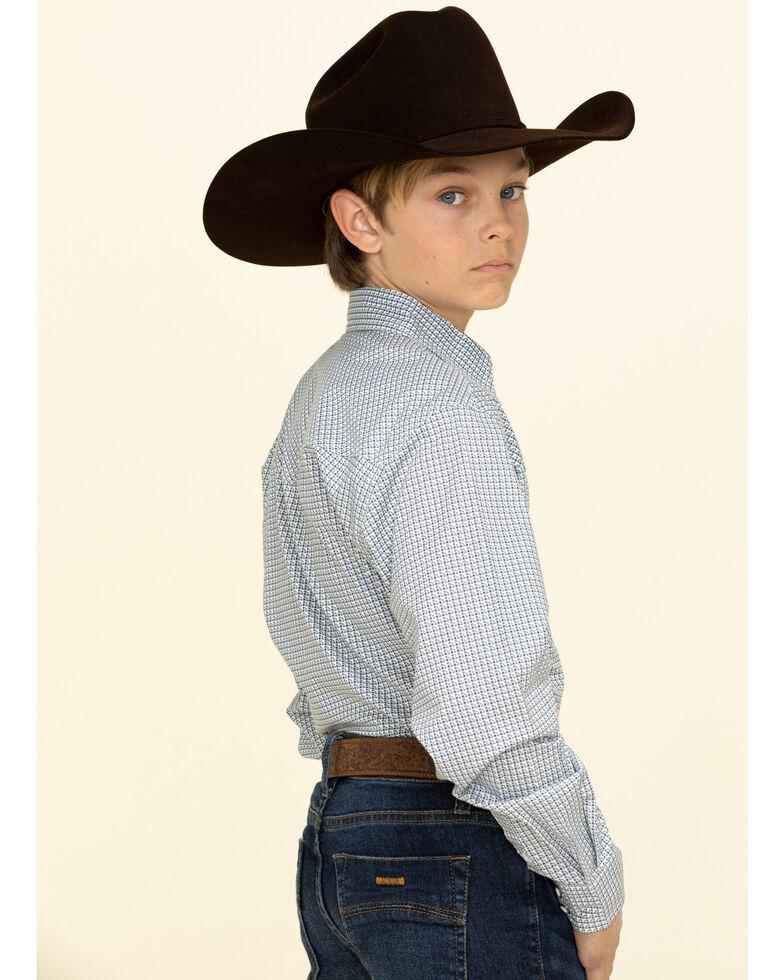 Cinch Boys' Multi Diamond Geo Print Long Sleeve Western Shirt , White, hi-res