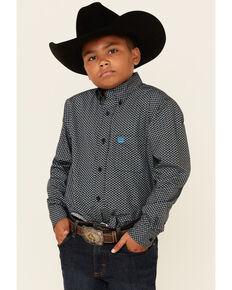 Cinch Boys' Black Geo Print Long Sleeve Button-Down Western Shirt , Black, hi-res