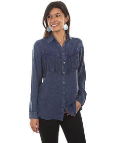 Honey Creek by Scully Women's Fringe Long Sleeve Button Denim Blouse , Blue, hi-res