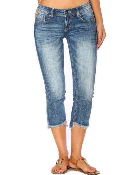 Grace in LA Women's Indigo Flare Jeans Capris , Indigo, hi-res