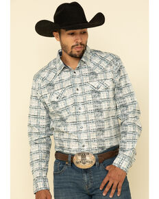 Moonshine Spirit Men's Wash Out Plaid Long Sleeve Western Shirt , Blue, hi-res
