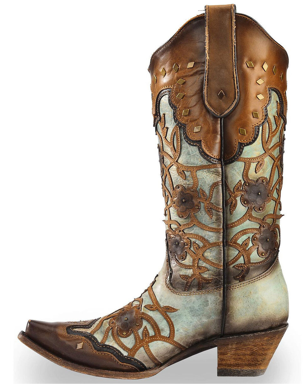 Corral Women's Mint Maple Flowers Overlay & Studs Western Boots - Snip Toe, Brown, hi-res