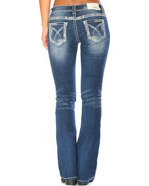 Grace in LA Women's Stitched Pocket Boot Cut Jeans , Indigo, hi-res