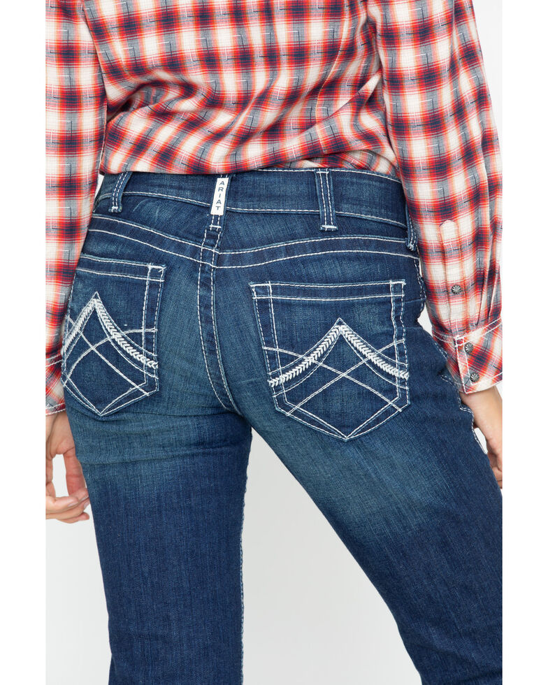 Ariat Women's R.E.A.L. Mid Rise Icon Stackable Straight Leg Jeans, Indigo, hi-res