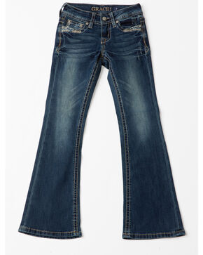 Grace In LA Line Embroidered Pocket Boot Jeans , Indigo, hi-res