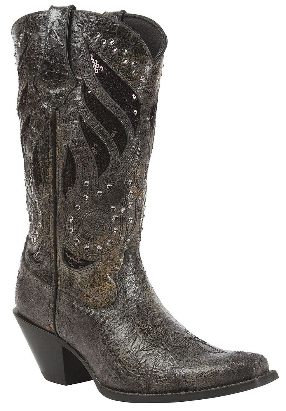 Durango Crush Sequin Inlay & Studded Cowgirl Boots - Snip Toe, Black, hi-res