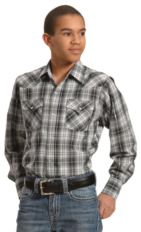 Ely Cattleman Boys' Black & Gray Lurex Plaid Shirt, Black, hi-res