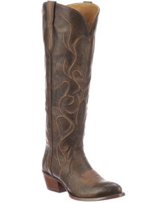 Lucchese Women's Peri Western Boots - Round Toe, Chocolate, hi-res