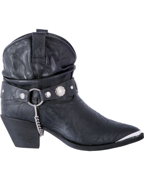 Dingo Women's Black Leather Concho Strap Slouch Ankle Boots - Pointed Toe, Black, hi-res