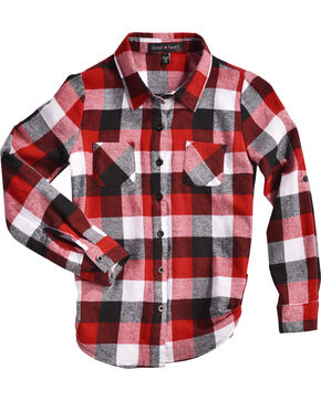 Derek Heart Girls' Red Tab Sleeves Plaid Flannel Shirt, Red, hi-res