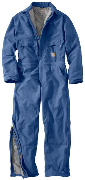 Carhartt Flame Resistant Quilt-Lined Duck Coveralls - Big & Tall, Royal, hi-res