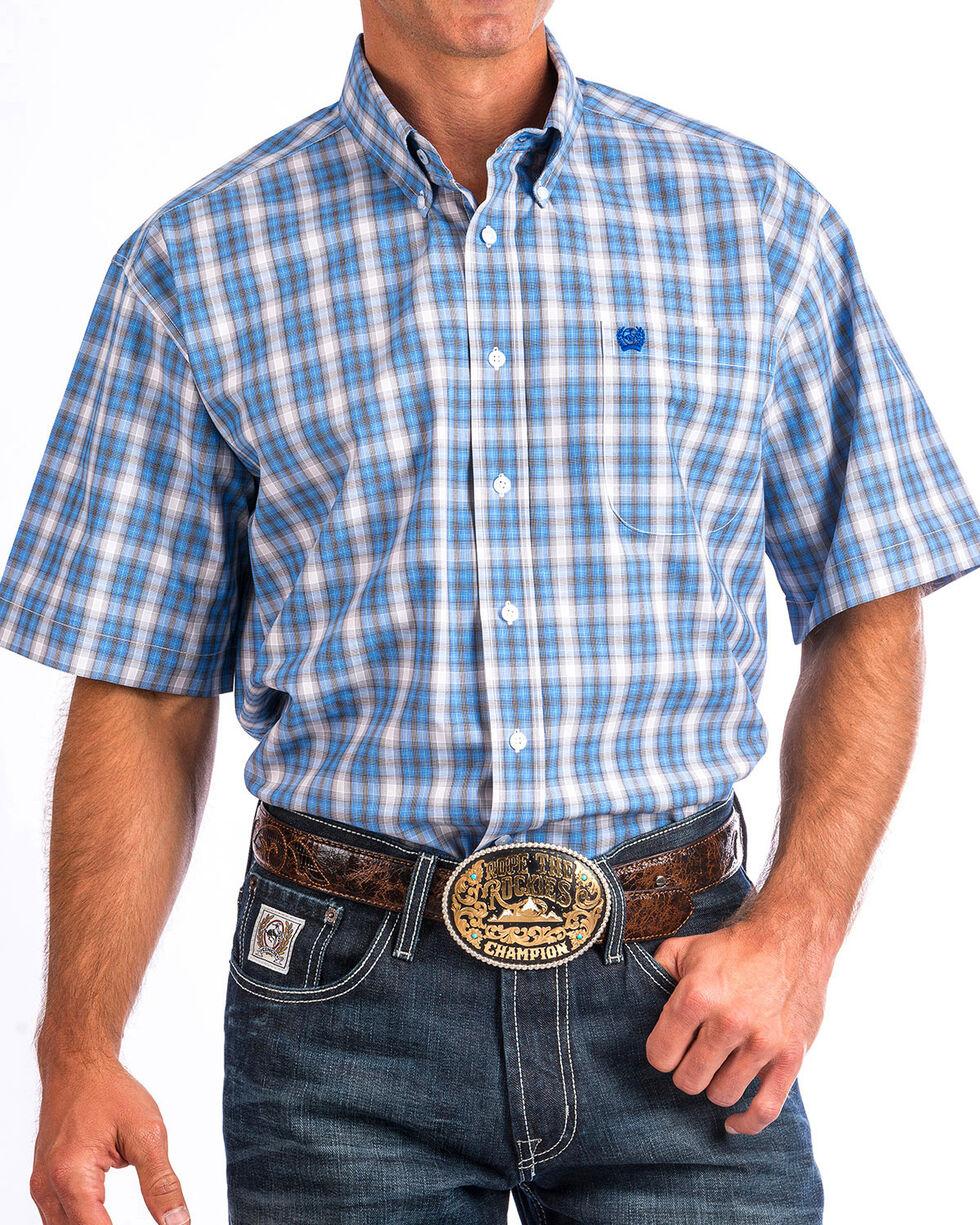Cinch Men's Blue Short Sleeve Plaid Shirt - Big, Multi, hi-res