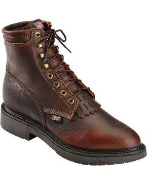 "Justin Men's 6"" Electrical Hazard Lacer Work Boots - Soft Toe, Tobacco, hi-res"