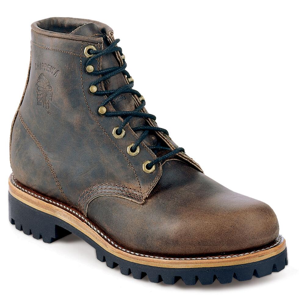 "Chippewa Classic Crazy Horse 6"" Lace-Up Work Boots - Round Toe, Sorrel, hi-res"