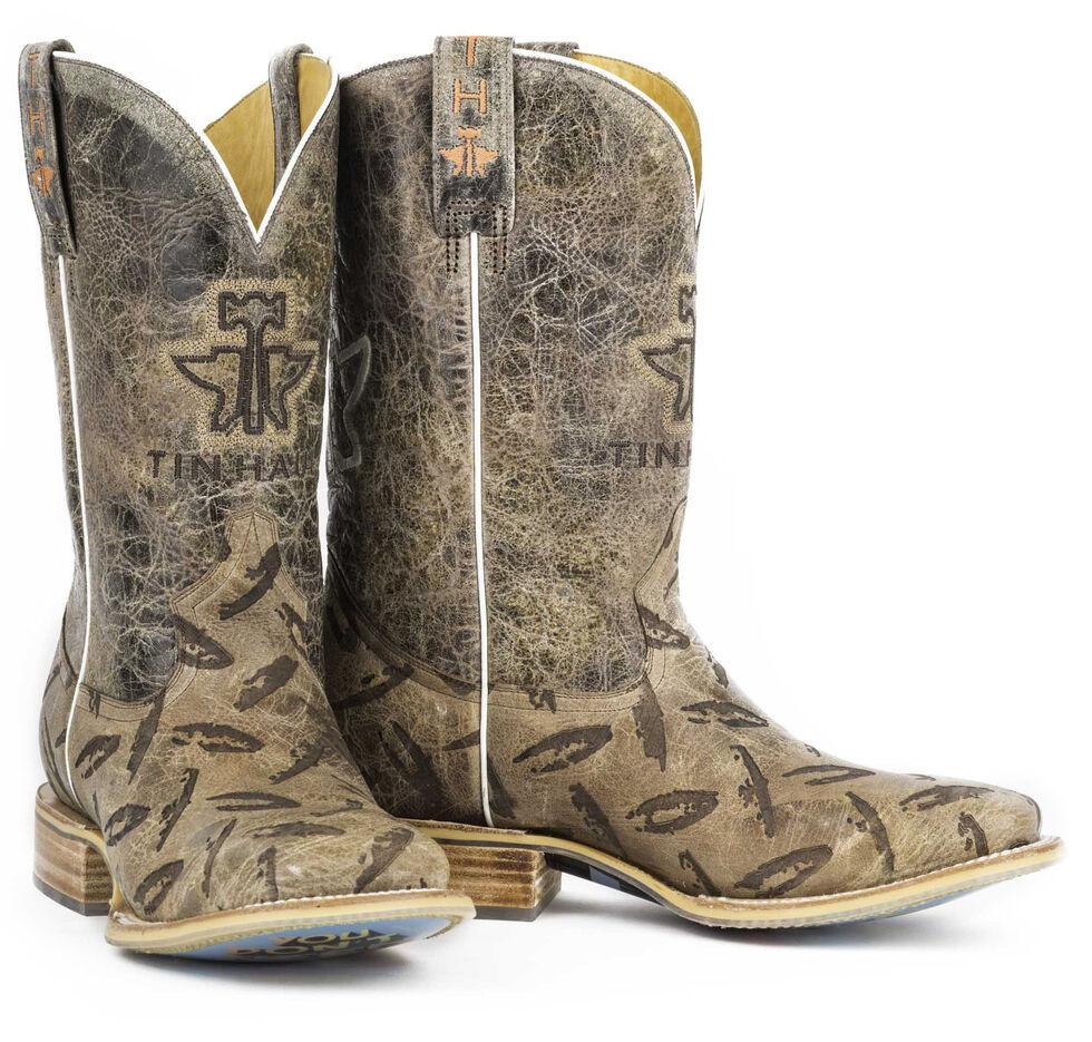 Tin Haul Men's Diamond Plate Pick Up Line Cowboy Boots - Square Toe, Tan, hi-res