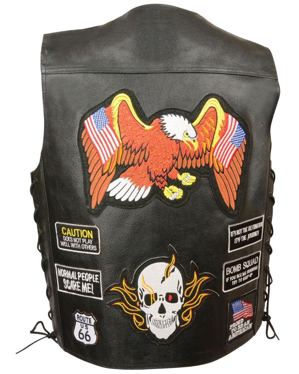 Milwaukee Leather Men's Side Lace Patch Vest - 5X, Black, hi-res