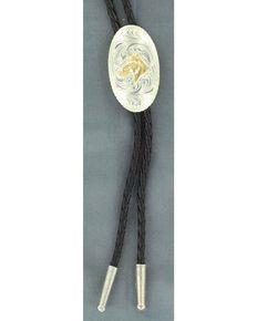 Engraved Horse Head Bolo Tie, Silver, hi-res