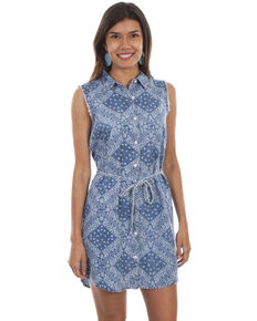 f3dc10776c5 Scully Womens Bandana Sleeveless Button Front Tie Belt Dress