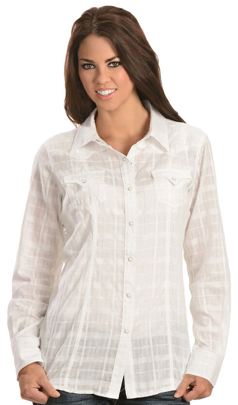 Ariat Tetonia Back Panel Snap Shirt, White, hi-res