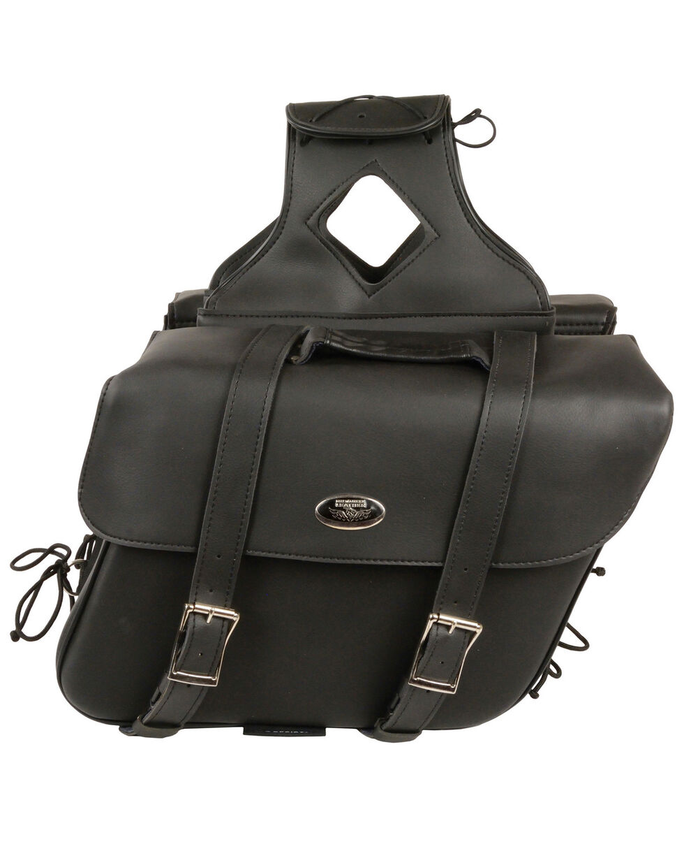 Milwaukee Leather Large Zip-Off Slanted Throw Over Saddle Bag, Black, hi-res