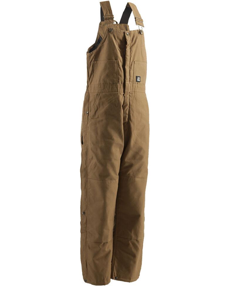 Berne Men's Brown Duck Deluxe Insulated Bib Work Overalls - Big, Brown, hi-res