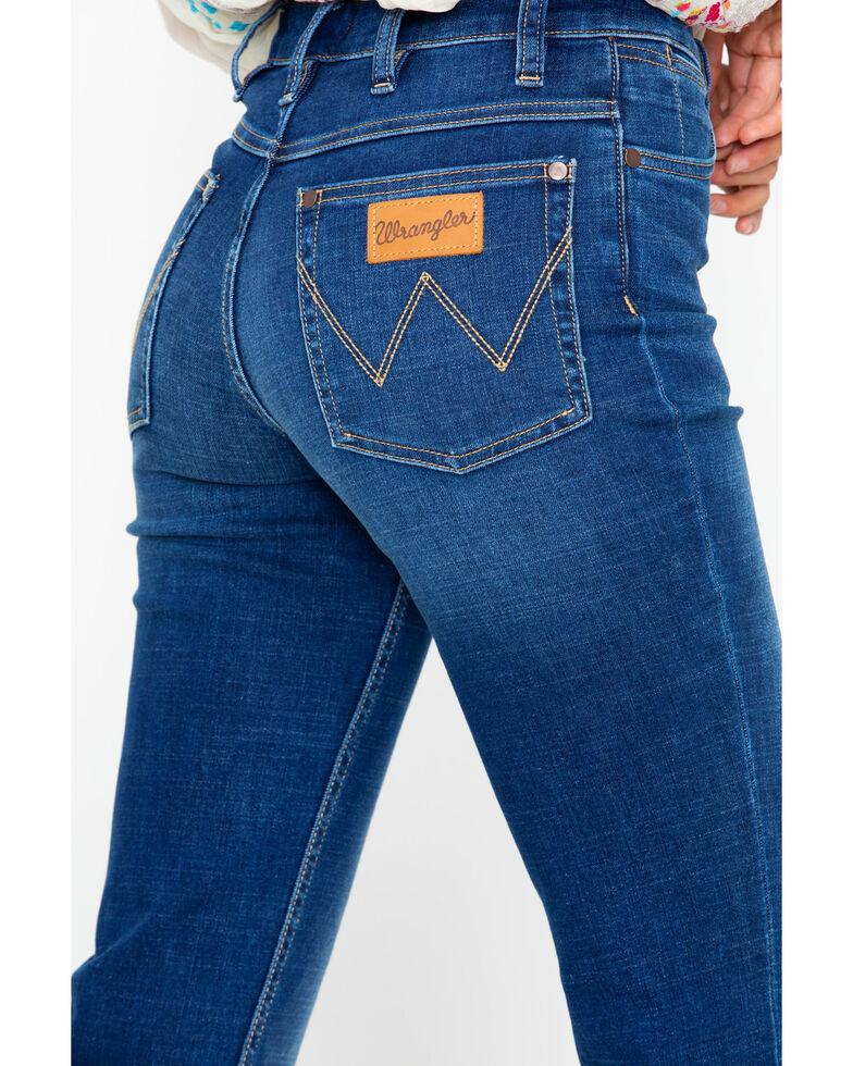 Wrangler Modern Women's High Rise Step Hem Jeans  , Dark Blue, hi-res