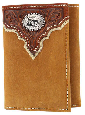 Cody James Men's Praying Cowboy Tri-Fold Leather Wallet, Brown, hi-res
