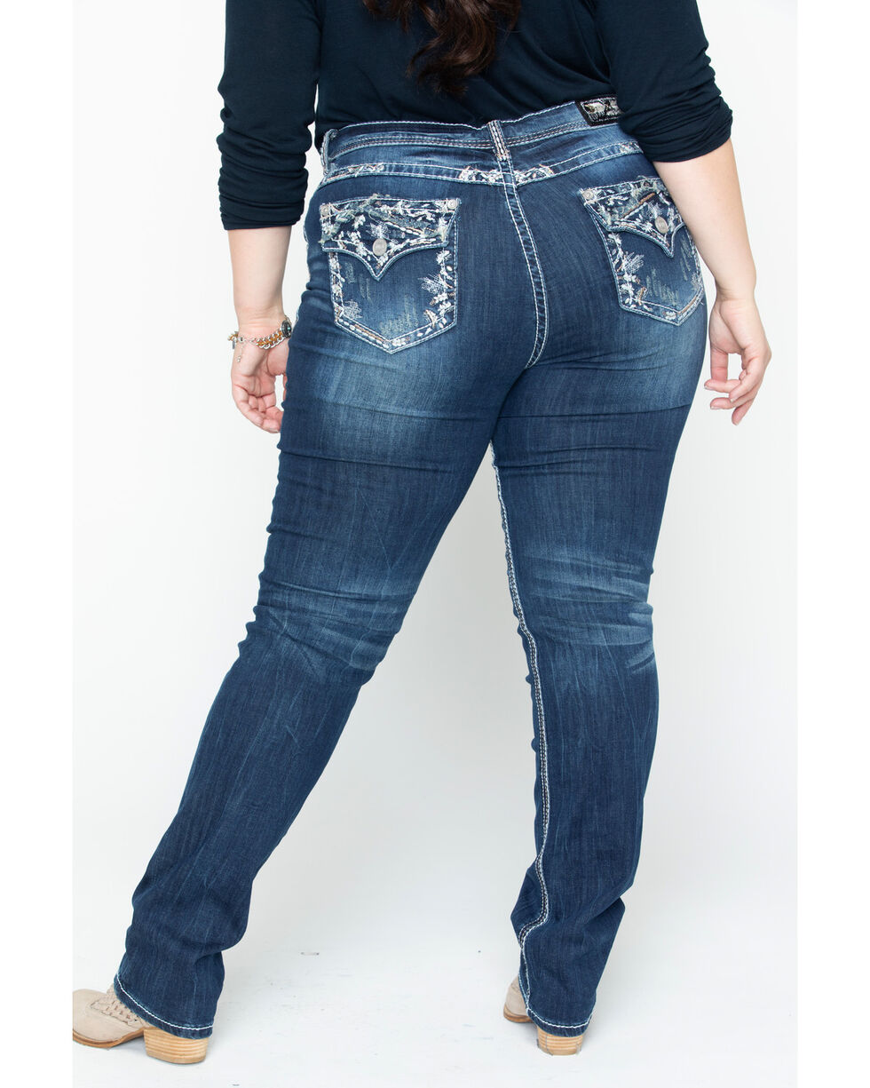 Grace in LA Women's Flora Skinny Jeans - Plus, Indigo, hi-res