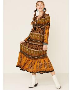 Nostalgia Women's Boho Tassel Maxi Dress , Olive, hi-res
