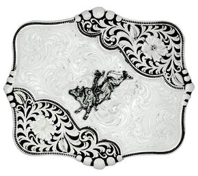 Montana Silversmiths Antiqued LeatherCut Blooms Bull Rider Belt Buckle, Silver, hi-res