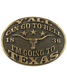 "And West ""Y'all Can Go To Hell, I'm Going To Texas"" Buckle, Bronze, hi-res"