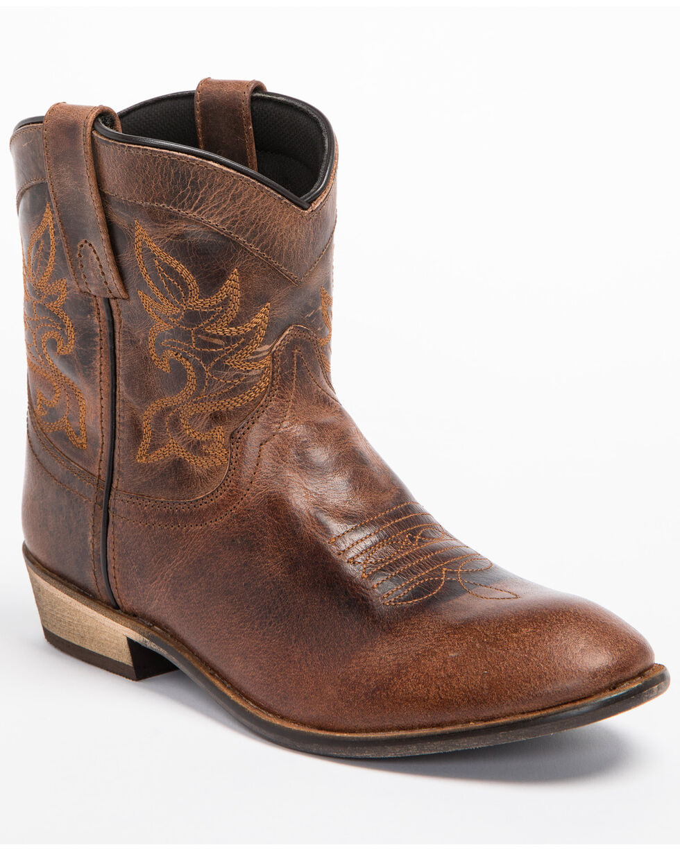 Dingo Women's Willie Short Cowgirl Boots - Round Toe, Brown, hi-res