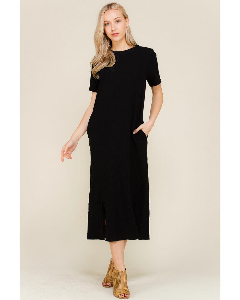 Polagram Women's Side Slit Short Sleeve Midi Dress, Black, hi-res