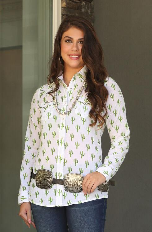 Wrangler Women's Long Sleeve Cactus Print Shirt, Ivory, hi-res