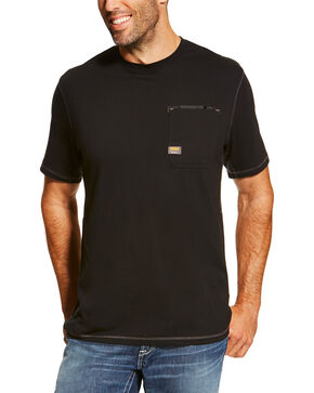 Ariat Men's Black Rebar Crew Short Sleeve Pocket Tee - Tall, Black, hi-res