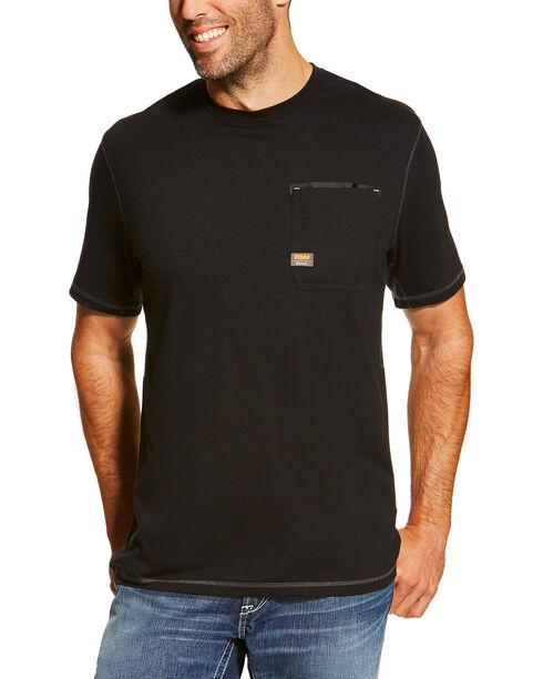 Ariat Men's Black Rebar Crew Short Sleeve Pocket Tee - Tall, Black, hi-res