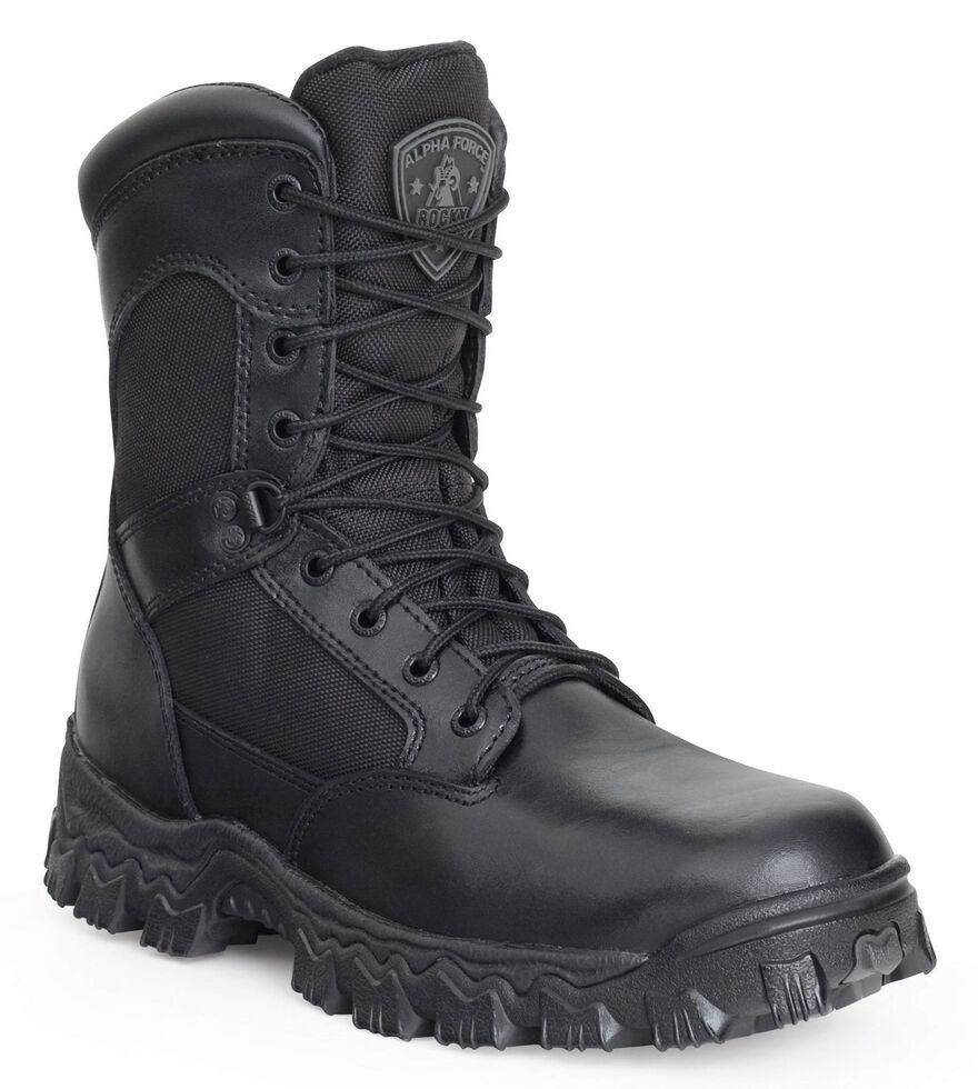 Rocky Men's Alphaforce Waterproof Zipper Duty Boots - Composite Toe, Black, hi-res