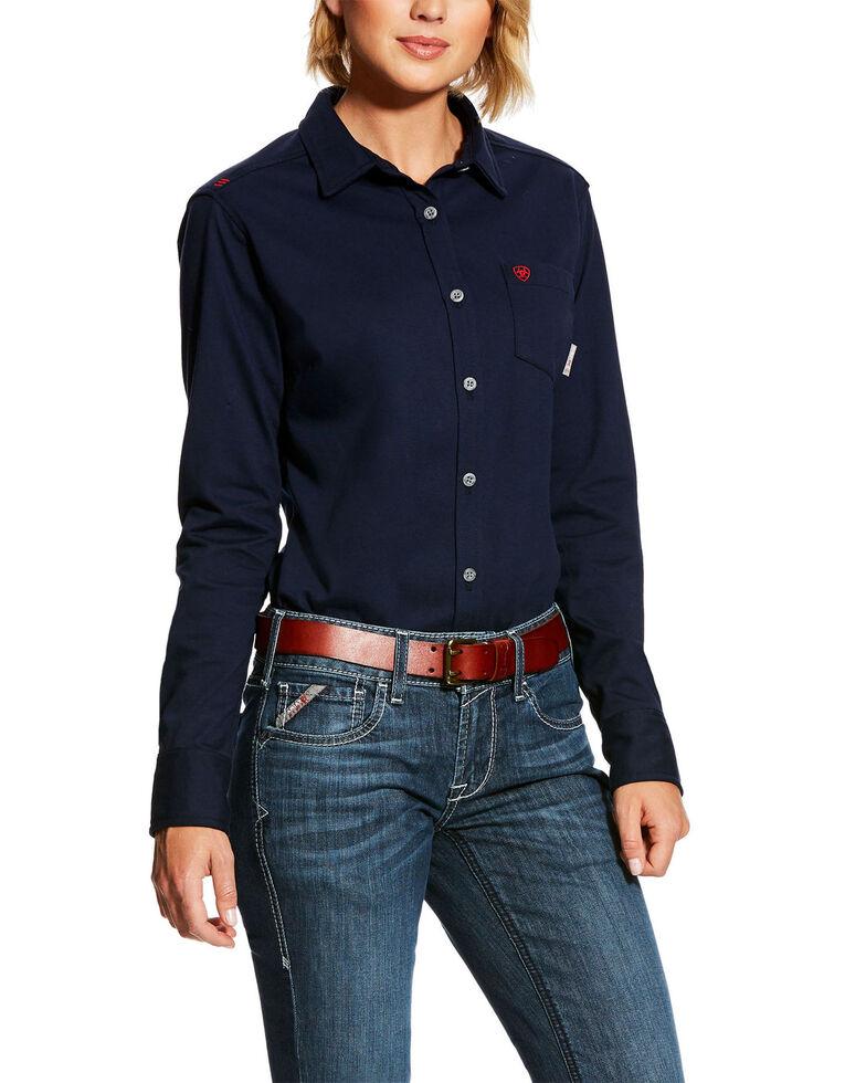 Ariat Women's Navy FR Taylor Knit Work Shirt , Navy, hi-res