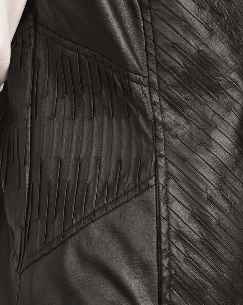 Erin London Women's Black Faux Leather Pleated Vest, Black, hi-res