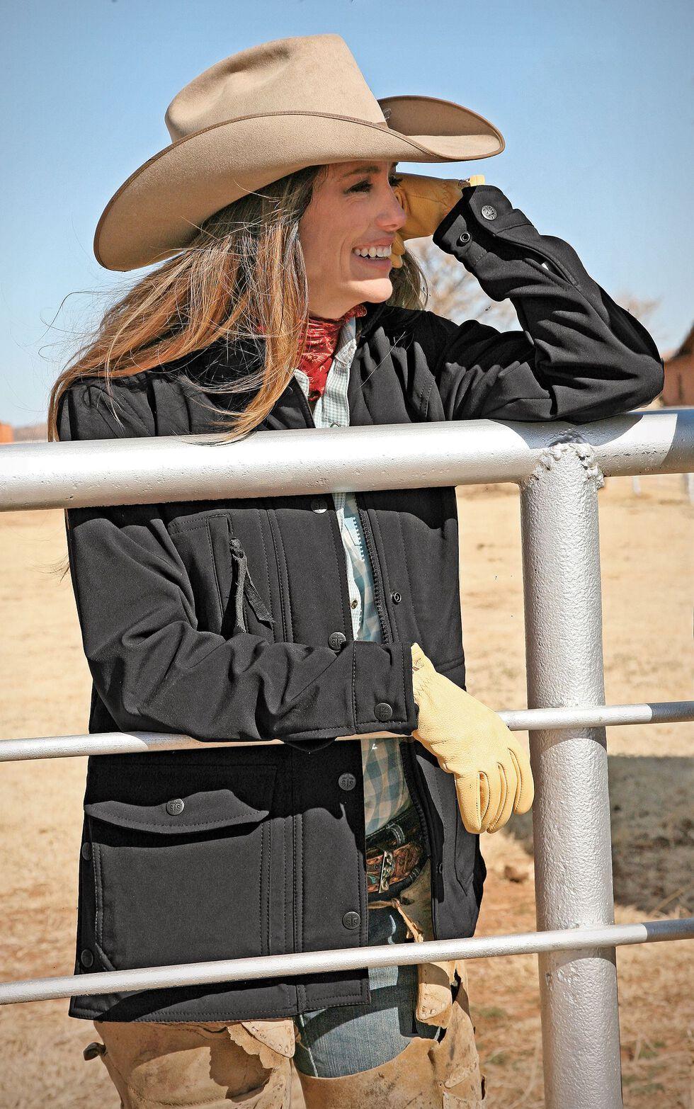 STS Ranchwear Women's Brazos Softshell Black Barn Jacket - Plus, Black, hi-res
