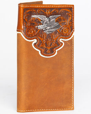 Cody James Men's Eagle Hardware Checkbook Wallet, Brown, hi-res